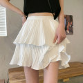 skirt Summer 2021 Short skirt commute High waist Pleated skirt Solid color Type A 18-24 years old 7060 30% and below other other Korean version Average size White, black