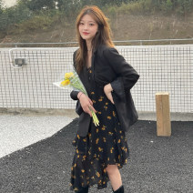 Dress Summer 2021 One piece of suspender skirt, one piece of suit Average size Mid length dress Two piece set Sleeveless commute V-neck High waist Broken flowers other A-line skirt other camisole 18-24 years old Type A Korean version Asymmetry, printing