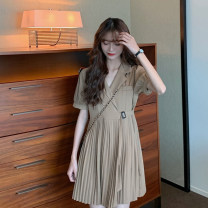 Dress Summer 2021 Black, Khaki Average size Short skirt singleton  Short sleeve commute tailored collar High waist Solid color other Irregular skirt other Others 18-24 years old Type A Korean version 30% and below