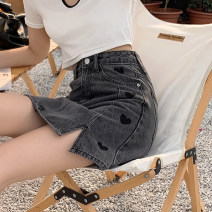 skirt Summer 2021 S,M,L,XL Blue, charcoal Short skirt commute High waist A-line skirt Solid color Type A 18-24 years old 30% and below other other Pocket, button, zipper Korean version