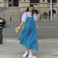 Dress Summer 2021 Single white shirt, single blue suspender skirt Average size Mid length dress Two piece set Sleeveless commute High waist Solid color A-line skirt camisole 18-24 years old Type A Korean version