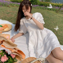 Dress Summer 2021 Long white dress , Short white dress S,M,L Mid length dress singleton  Short sleeve commute square neck High waist Solid color Socket A-line skirt puff sleeve Others 18-24 years old Type A Korean version 30% and below other other
