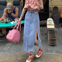 skirt Summer 2021 S,M,L Blue, black longuette commute High waist Denim skirt Solid color Type A 18-24 years old 30% and below other other Pocket, button Korean version