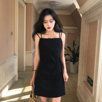 Dress Spring 2021 black S,M,L Short skirt singleton  Sleeveless commute One word collar middle-waisted Solid color Socket A-line skirt camisole 18-24 years old Type A Korean version