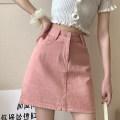 skirt Summer 2021 S,M,L,XL White, pink, black Short skirt commute High waist A-line skirt Solid color Type A 18-24 years old Pocket, button, zipper Korean version