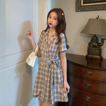 Dress Summer 2021 Dress S,M,L Mid length dress singleton  Short sleeve commute V-neck High waist lattice Socket routine 18-24 years old Type A Korean version 31% (inclusive) - 50% (inclusive) other