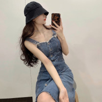 Dress Summer 2021 blue S,M,L Mid length dress singleton  Sleeveless commute square neck High waist Solid color Single breasted other routine camisole 18-24 years old Type A Korean version Pocket, button 30% and below other other