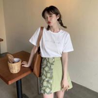 Fashion suit Summer 2021 S. M, average size Purple T-shirt piece, green T-shirt piece, purple suit skirt piece, green suit skirt piece 18-25 years old