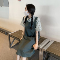 Dress Summer 2021 Single shirt, single back skirt Average size Mid length dress Two piece set Sleeveless commute other Loose waist Solid color other other straps 18-24 years old Type H Korean version
