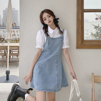 Dress Summer 2021 wathet S,M,L,XL Short skirt Fake two pieces Short sleeve commute square neck High waist other zipper A-line skirt puff sleeve Others 18-24 years old Type A Korean version Patching, patching 30% and below other other