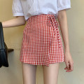 skirt Summer 2021 S,M,L,XL Red, black Short skirt commute High waist A-line skirt lattice Type A 18-24 years old 30% and below other other Frenulum Korean version