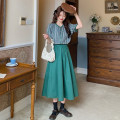 Fashion suit Summer 2021 Average size Green Plaid top piece, Navy top piece, green skirt piece, Navy skirt piece 18-25 years old 30% and below
