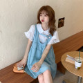 Dress Summer 2021 Blue vest skirt piece, white shirt piece Average size Short skirt Two piece set Sleeveless commute High waist Solid color A-line skirt straps 18-24 years old Type A Korean version