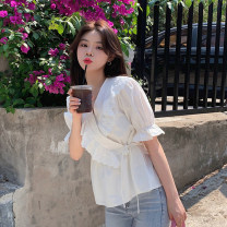 shirt White, blue Average size Summer 2021 other 30% and below Short sleeve commute Short style (40cm < length ≤ 50cm) V-neck Frenulum routine Solid color 18-24 years old Straight cylinder Korean version Lace