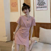 Dress Summer 2021 Grey, pink Average size Short skirt singleton  Short sleeve commute Crew neck High waist Solid color Socket Irregular skirt routine Others 18-24 years old Type A Korean version fold 30% and below other other