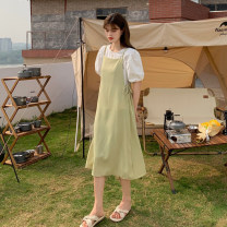 Dress Summer 2021 Green dress suit, blue dress suit S, M Mid length dress Two piece set Sleeveless commute other High waist Solid color Socket A-line skirt other camisole 18-24 years old Type A Korean version