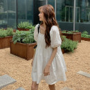 Dress Summer 2021 White, black Average size Mid length dress singleton  Short sleeve commute square neck Loose waist Solid color Socket Big swing puff sleeve Others 18-24 years old Type A Korean version 5278# 30% and below other other