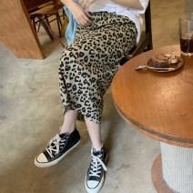 skirt Summer 2021 Average size Single skirt, single white T-shirt, single black T-shirt, single beige blue T-shirt longuette commute High waist A-line skirt Leopard Print Type A 18-24 years old other other zipper Korean version