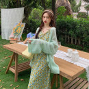 Dress Summer 2021 Average size longuette Two piece set Sleeveless commute other High waist Solid color A-line skirt camisole 18-24 years old Type A Korean version