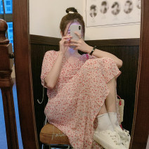 Dress Summer 2021 Average size longuette singleton  Short sleeve commute V-neck High waist Broken flowers Socket A-line skirt puff sleeve Others 18-24 years old Type A Korean version 30% and below other other