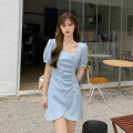 Dress Summer 2021 Blue, yellow, black S, M Mid length dress singleton  Short sleeve commute square neck High waist Solid color Socket A-line skirt puff sleeve Others 18-24 years old Type A Korean version
