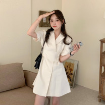 Dress Summer 2021 White, black Average size Short skirt singleton  Short sleeve commute Polo collar High waist Solid color Single breasted A-line skirt routine Others 18-24 years old Type A Korean version Button 30% and below other other
