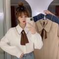 shirt Apricot shirt piece , Single white shirt , Single blue shirt , White vest piece , Black vest piece Average size Spring 2021 polyester fiber 96% and above Long sleeves commute Regular Doll Collar Socket shirt sleeve Solid color 18-24 years old Straight cylinder Korean version bow
