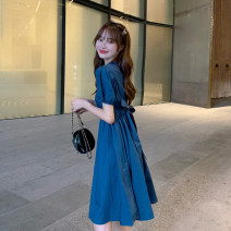 Dress Summer 2021 blue S, M Mid length dress singleton  Short sleeve commute other High waist Solid color A-line skirt puff sleeve Others 18-24 years old Type A Korean version Bow tie