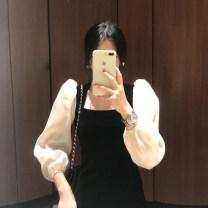 Dress Spring 2021 black M, L longuette singleton  Long sleeves commute square neck High waist Solid color Socket A-line skirt puff sleeve 18-24 years old Type H Korean version