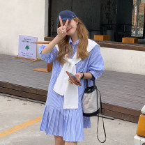 Dress Summer 2021 Blue for shawl, black for shawl Average size Mid length dress singleton  Short sleeve commute Polo collar Loose waist stripe Single breasted other routine Others 18-24 years old Type A Korean version