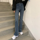 Jeans Spring 2021 Blue, smoky grey S,M,L,XL trousers High waist Flared trousers routine 18-24 years old Wash, zipper, button, multi pocket Cotton elastic denim 71% (inclusive) - 80% (inclusive)