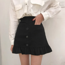 skirt Summer 2020 S,M,L Khaki, black Short skirt Versatile High waist A-line skirt Solid color Type A 18-24 years old