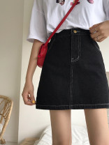 skirt Spring 2020 S,M,L Blue, black Short skirt commute High waist A-line skirt Solid color Type A 18-24 years old 31% (inclusive) - 50% (inclusive) other Korean version