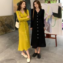 Dress Spring 2021 Yellow, black M, L longuette singleton  Long sleeves commute V-neck High waist Solid color Single breasted A-line skirt routine Others 18-24 years old Type A Other / other Korean version 71% (inclusive) - 80% (inclusive) knitting acrylic fibres