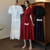 Dress Summer 2021 White, red, black Average size Miniskirt singleton  Short sleeve commute V-neck Elastic waist Solid color Three buttons Big swing puff sleeve Others 18-24 years old Type A Other / other Korean version Button 51% (inclusive) - 70% (inclusive) other polyester fiber