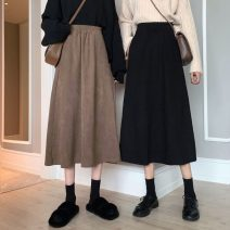 skirt Autumn 2020 Average size Brown, black Mid length dress commute High waist A-line skirt Solid color Type A 18-24 years old 91% (inclusive) - 95% (inclusive) Korean version