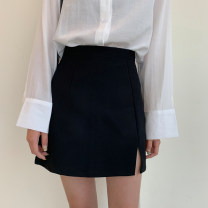 skirt Spring 2020 S. M, l, average size Black, sunscreen shirt Short skirt commute High waist A-line skirt Solid color Type A 18-24 years old 71% (inclusive) - 80% (inclusive) other polyester fiber Split Korean version