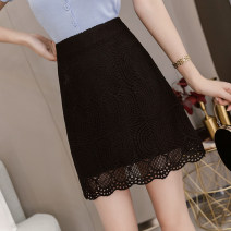 skirt Summer 2020 S,M,L,XL,2XL,3XL,4XL Short skirt commute High waist A-line skirt Solid color Type A 18-24 years old 71% (inclusive) - 80% (inclusive) Lace polyester fiber Korean version
