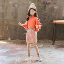 suit Other / other Orange 100cm,110cm,120cm,130cm,140cm,150cm,160cm,170cm female winter Korean version Long sleeve + skirt 2 pieces routine There are models in the real shooting Socket nothing Solid color cotton children Giving presents at school Class B Chinese Mainland Zhejiang Province Huzhou City