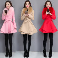 woolen coat Autumn of 2018 M,L,XL,2XL Pink, red, khaki other 51% (inclusive) - 70% (inclusive) Medium length Long sleeves commute A button routine V-neck Solid color Self cultivation Korean version Pockets, panels, buttons