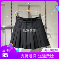 skirt Summer 2021 S,M,L,XL Black, khaki Short skirt Retro Natural waist Pleated skirt Solid color Type A More than 95% other Bird patter Cellulose acetate