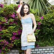 Dress Summer 2021 Light blue lace patchwork dress S,M,L Short skirt singleton  Sleeveless Sweet One word collar High waist lattice zipper A-line skirt camisole 25-29 years old Type A Other / other Backless, pleated, stitched, wavy, lace, printed, contrast Light tweed cotton Mori