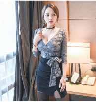 Dress Spring 2021 Picture color 9001, picture color 9000, picture color 9004, picture color 6205 S,M,L,XL Short skirt singleton  Long sleeves commute V-neck middle-waisted zipper One pace skirt routine 18-24 years old Type H Korean version Bowknot, strap, net, zipper, lace other polyester fiber