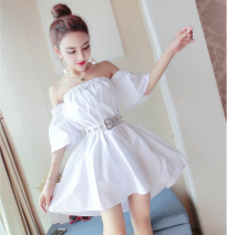 Dress Spring 2021 white S,M,L,XL Short skirt singleton  Short sleeve commute One word collar High waist Solid color Socket A-line skirt routine Breast wrapping 18-24 years old Type A Other / other Korean version 31% (inclusive) - 50% (inclusive) other cotton