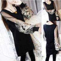 Dress Spring 2021 Black (8056), 1822 (stripe) XXL (below 143 kg), l (below 110 kg), m (below 100 kg), XL (below 120 kg), XXL (below 130 kg), s (below 90 kg), 4XL (below 150 kg) Short skirt singleton  Long sleeves commute Crew neck Socket bishop sleeve 18-24 years old Korean version Embroidery