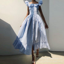 Dress Spring 2021 Sky Blue S,M,L,XL Middle-skirt singleton  Sleeveless Sweet square neck Solid color other other straps 25-29 years old Type A other 31% (inclusive) - 50% (inclusive) polyester fiber princess
