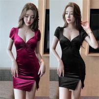 Dress Spring 2021 Red, black S,M,L Short skirt singleton  Short sleeve commute V-neck High waist One pace skirt routine