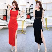 Dress Spring 2021 Red, black S,M,L Mid length dress singleton  Sleeveless commute Crew neck High waist Solid color zipper Korean version zipper