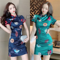 Dress Summer 2021 Green, Navy S,M,L Short skirt singleton  Short sleeve commute High waist Decor Socket One pace skirt routine Retro Button