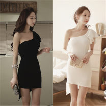 Dress Summer 2021 White, black S,M,L,XL Short skirt singleton  Slant collar Oblique shoulder